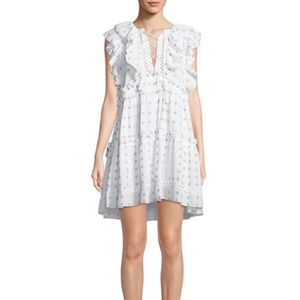Sea New York Colette Printed White Ruffle Dress